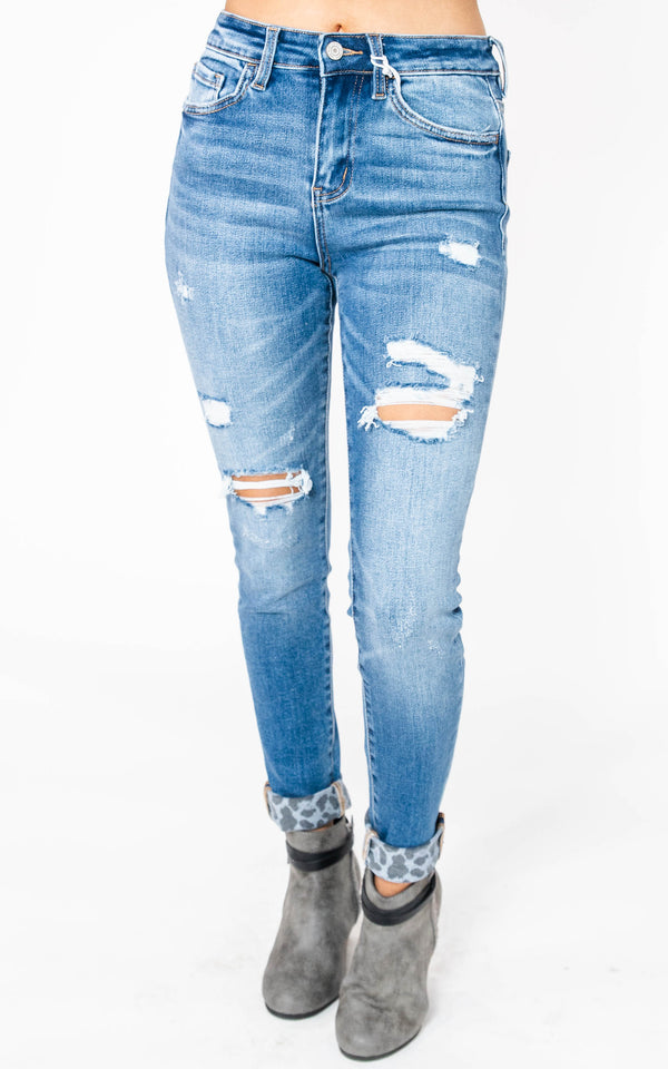Harloe High Rise Crop Skinny with Leopard Print Cuff - Vervet, CLOTHING, VERVET, BAD HABIT BOUTIQUE