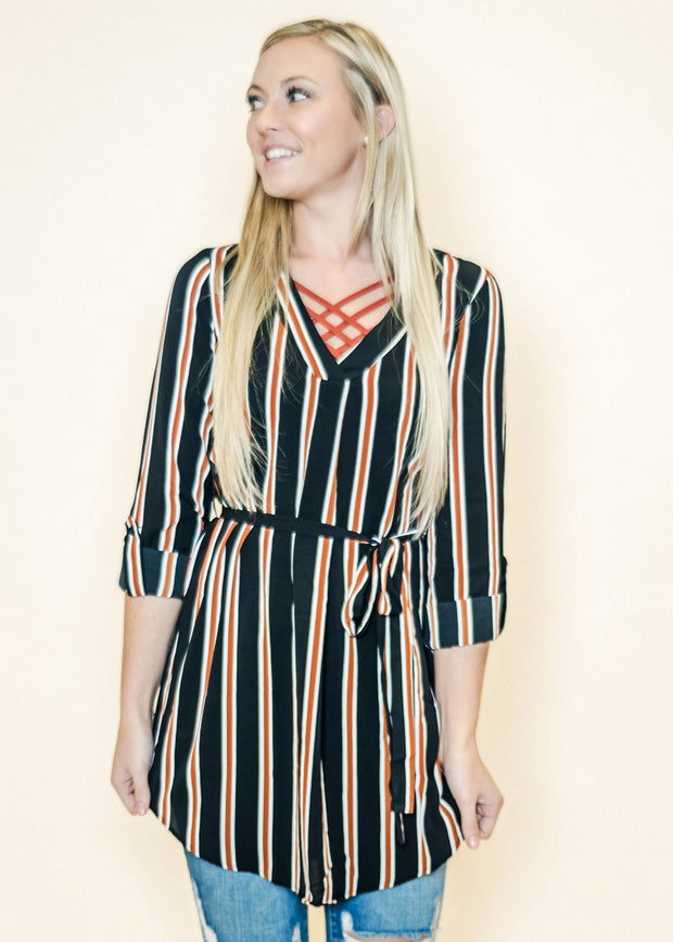 Business Savvy Striped Tunic-Black/ Rust/Ivory, TOPS, Blu Pepper, badhabitboutique