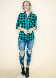 Buffalo Plaid Button Top- Green/Black, TOPS, DNA Couture, badhabitboutique