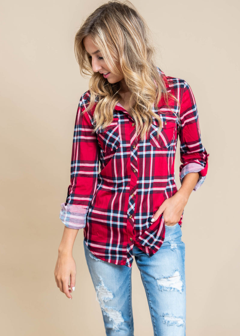Harvest Plaid Roll Up Sleeve | Multi Plaid Red, CLOTHING, Clothing of America, BAD HABIT BOUTIQUE