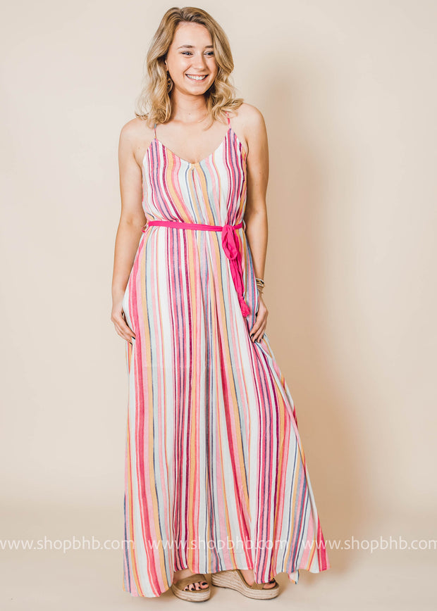 striped maxi dress with side slits and belt with tassels