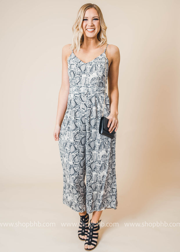 black and white snakeskin jumpsuit with belt