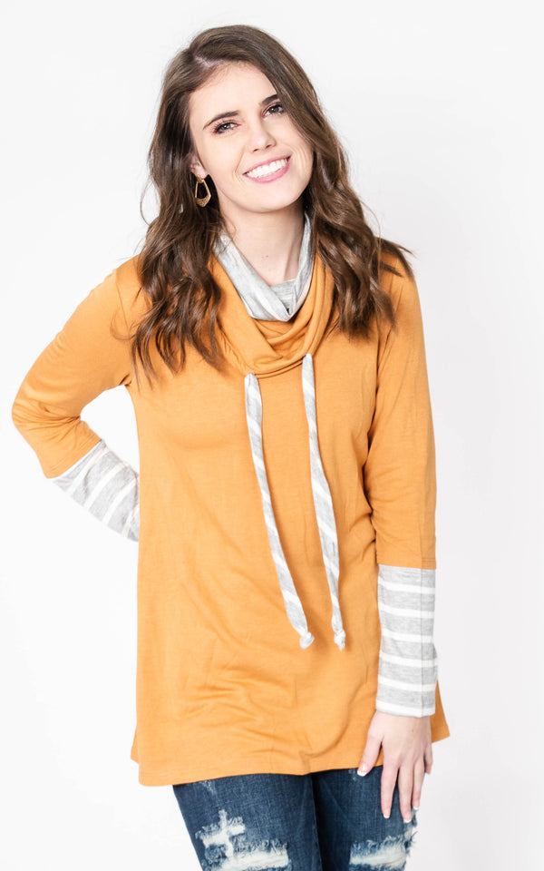 The Rebecca Cowl Neck Striped Tunic, CLOTHING, Be Cool, BAD HABIT BOUTIQUE