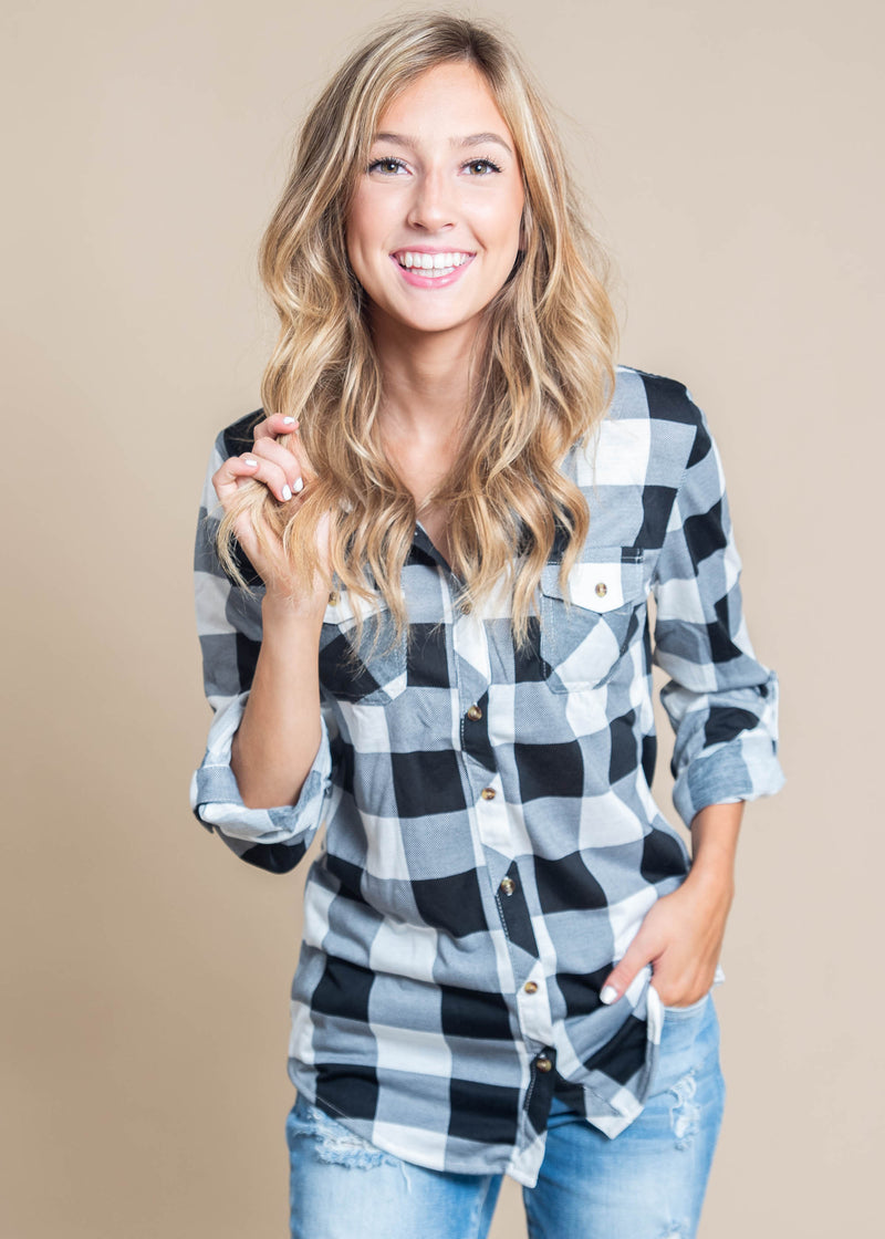 Harvest Plaid Roll Up Sleeve | BLACK/WHITE, CLOTHING, Clothing of America, BAD HABIT BOUTIQUE