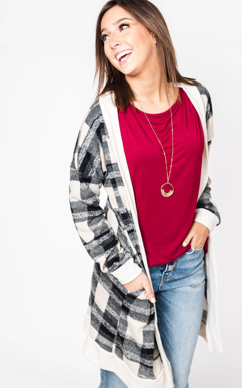 Plaid Duster Cardigan, CLOTHING, Heimish, BAD HABIT BOUTIQUE