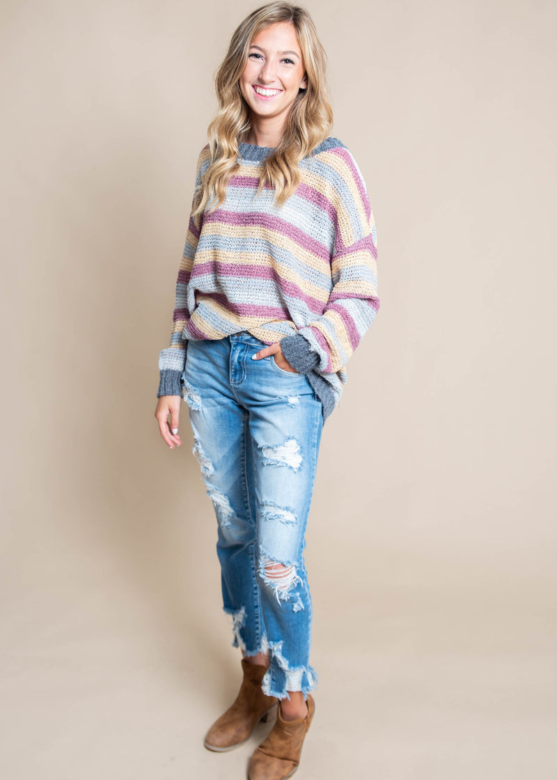 Light Knit Striped Multi-Color Sweater, CLOTHING, Cozy Casual, BAD HABIT BOUTIQUE
