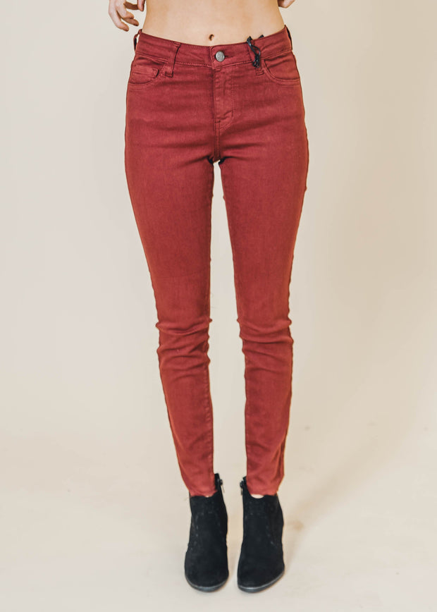 mid rise burgundy cropped skinny jeans, cello jeans, skinnies, denim, cello denim