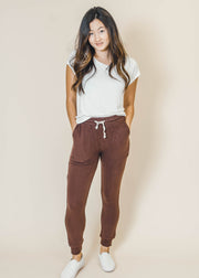 dark burgundy legging jogger with pockets