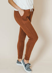 brown legging jogger with pockets
