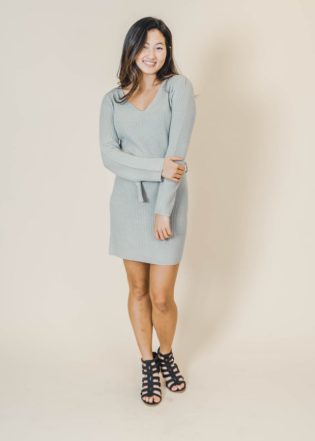 light grey belted sweater body con dress, sweater dresses, dresses, HyFve