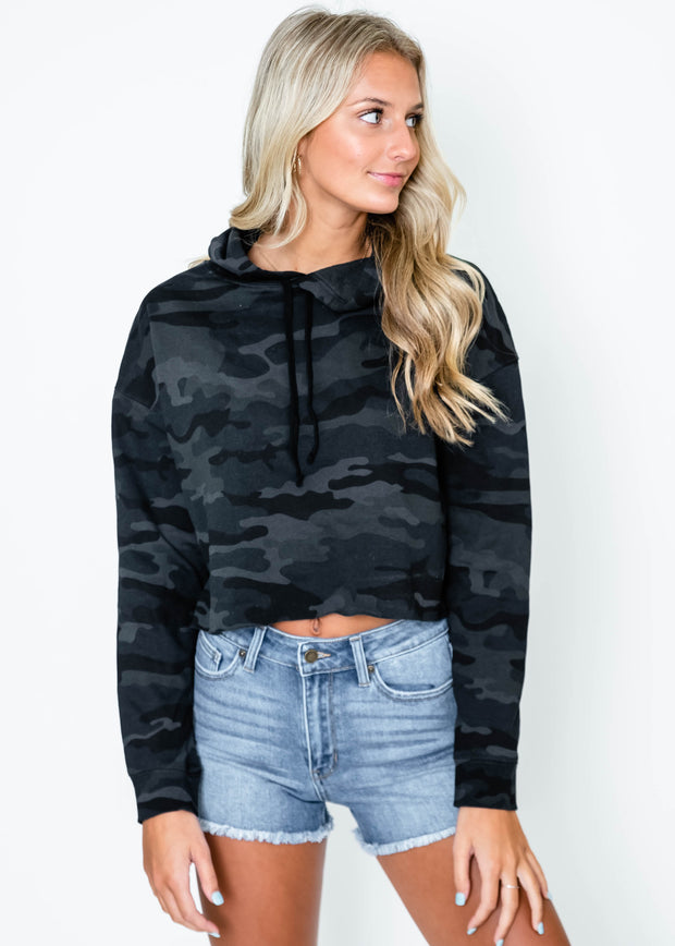 cropped camo hoodie for women