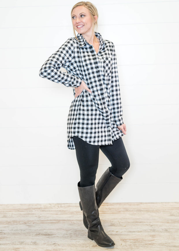 Rock our black and white buffalo plaid by itself with leggings