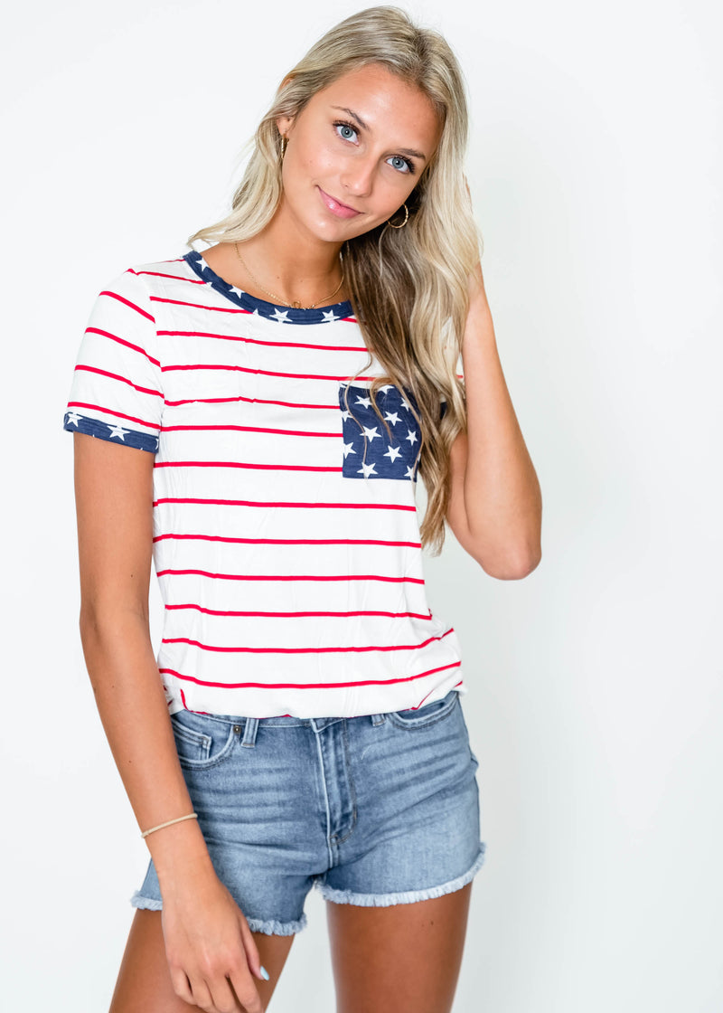 American Flag Pocket Tee | FINAL SALE, CLOTHING, 7th Ray, BAD HABIT BOUTIQUE