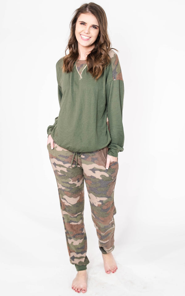 Camouflage Knit Two Piece Set - Final Sale, CLOTHING, White Birch, BAD HABIT BOUTIQUE