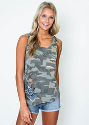 shredded camo tank with sequin pocket