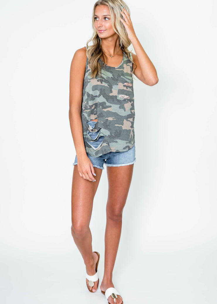 camo tank top for women with distressed sequin pocket