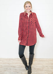 Our red and black buffalo plaid tunic is a great fit for Christmas and holidays