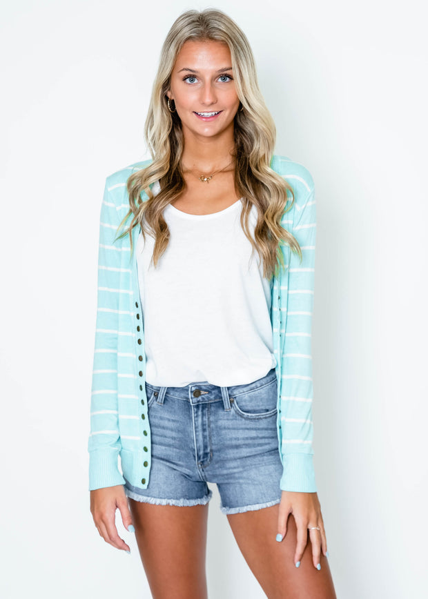 light blue striped snap front cardigan