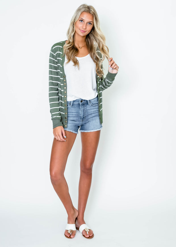 light olive striped snap front cardigan