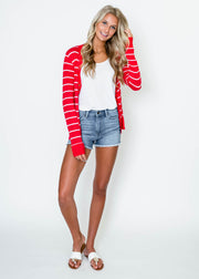 red white striped cardigan