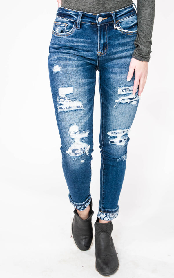 BlueBird Mid-Rise Crop Skinny with Paisley Print Cuff - Vervet, CLOTHING, VERVET, BAD HABIT BOUTIQUE
