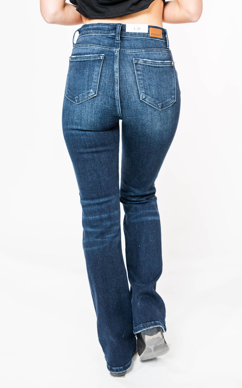 High Rise Dark Wash Slim Boot Cut Jeans - Judy Blue, CLOTHING, JUDY BLUE, BAD HABIT BOUTIQUE