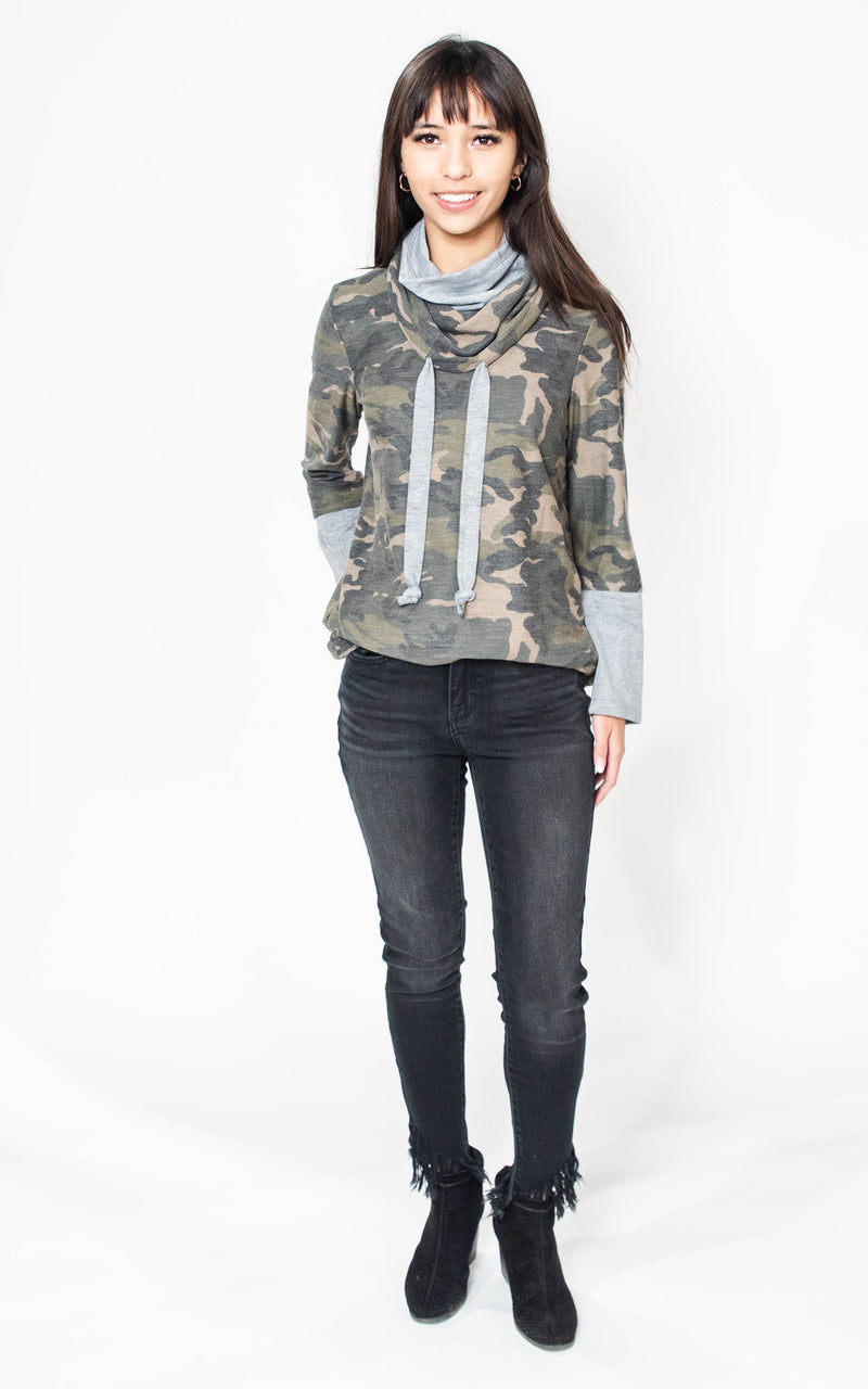 The Maria Cowl Neck Camo Sweatshirts, CLOTHING, Be Cool, BAD HABIT BOUTIQUE