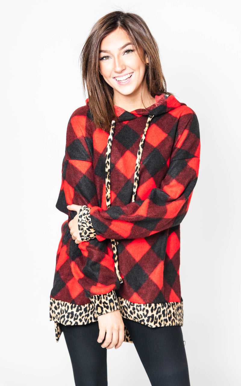 Buffalo Plaid Hoodie with Cheetah Details, CLOTHING, White Birch, BAD HABIT BOUTIQUE