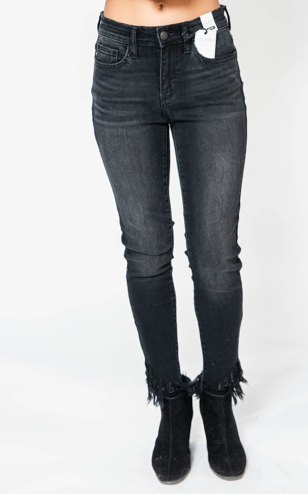 Mid-Rise Black Fray Hem Skinny Jeans-Judy Blue, CLOTHING, JUDY BLUE, BAD HABIT BOUTIQUE