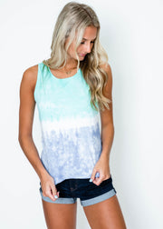 teal purple tie dye tank for women