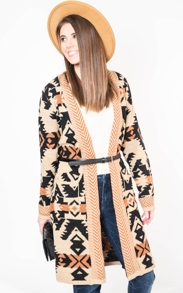 The Wanderer Aztec Cardigan, CLOTHING, On Blue, BAD HABIT BOUTIQUE