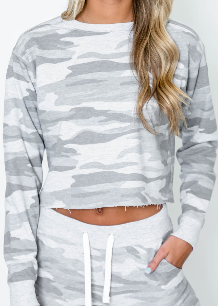 grey camo cropped sweatshirt