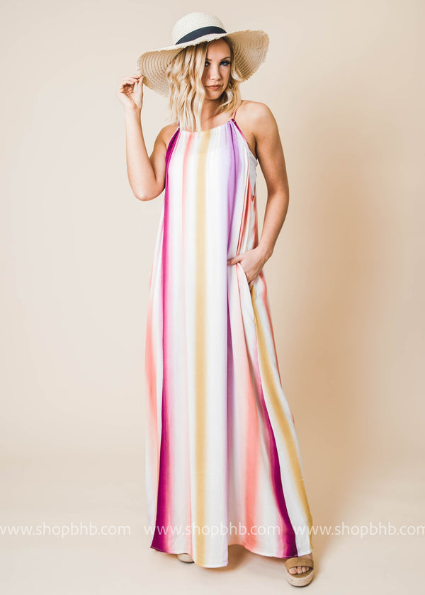 Turn Things Up Striped Halter Maxi Dress - FINAL SALE - BAD HABIT BOUTIQUE