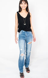 High Rise Distressed Straight Denim Jeans - Vervet, CLOTHING, Vervet, BAD HABIT BOUTIQUE