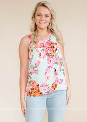 Floral neon tank top