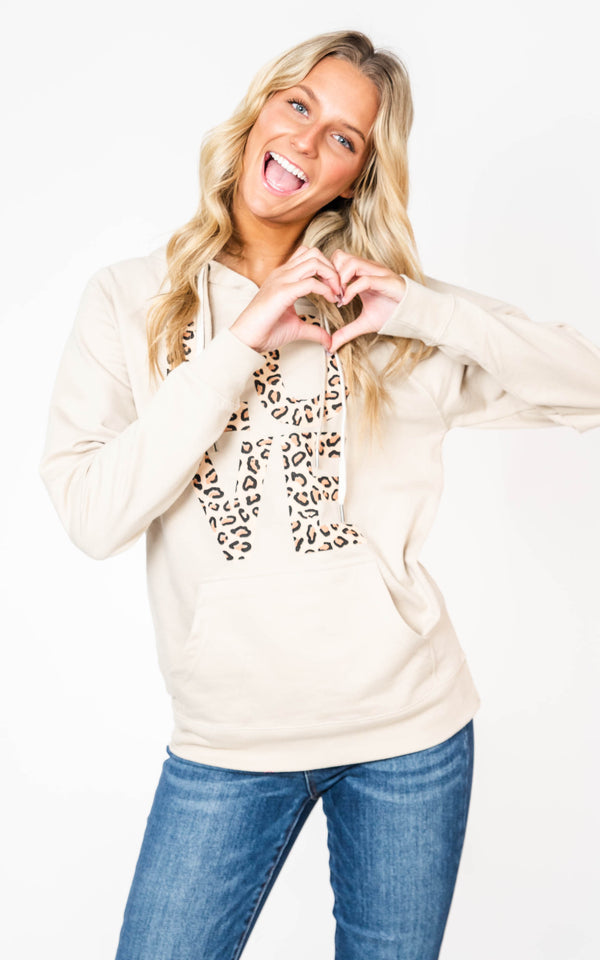 For The Love of Leopard Hoodie - Taupe, CLOTHING, BAD HABIT APPAREL, BAD HABIT BOUTIQUE