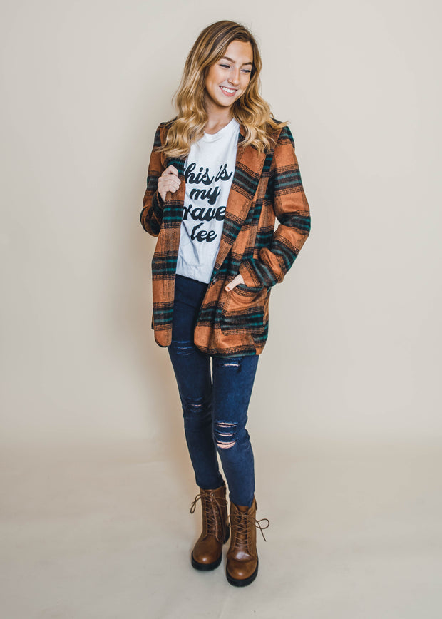brown hunter green plaid blazer