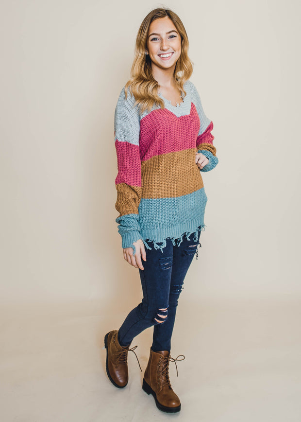 striped colorblock frayed knit sweater pink gray rust sage