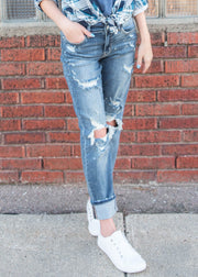beach splash distressed denim