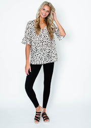 dalmation spotted ruffle sleeve top