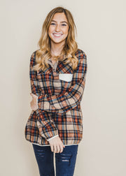 plaid 3/4 button  light weight pocket contrast sweater