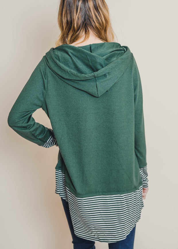 olive striped hoodie tunic