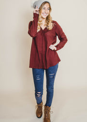 magenta thermal neck detail long sleeve top