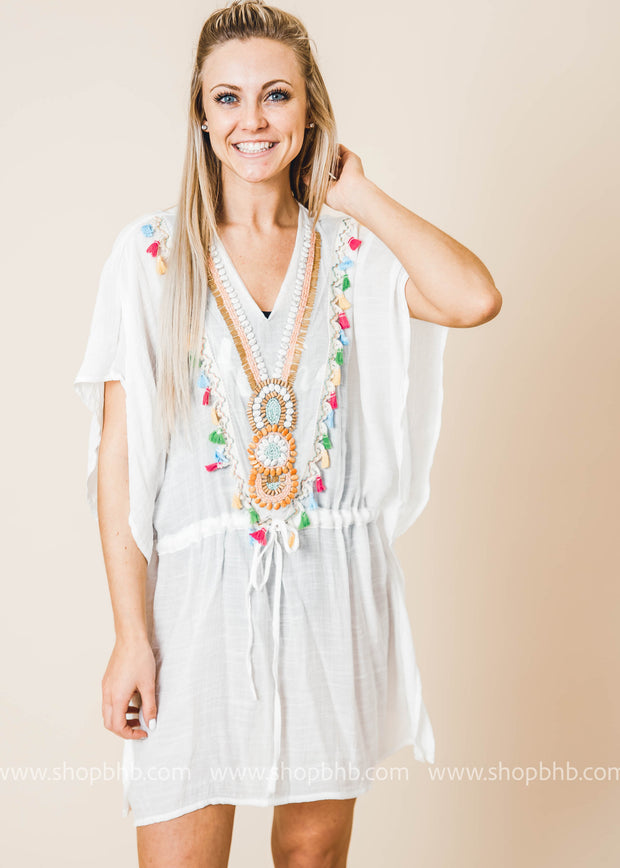 tribal beaded swimsuit cover up