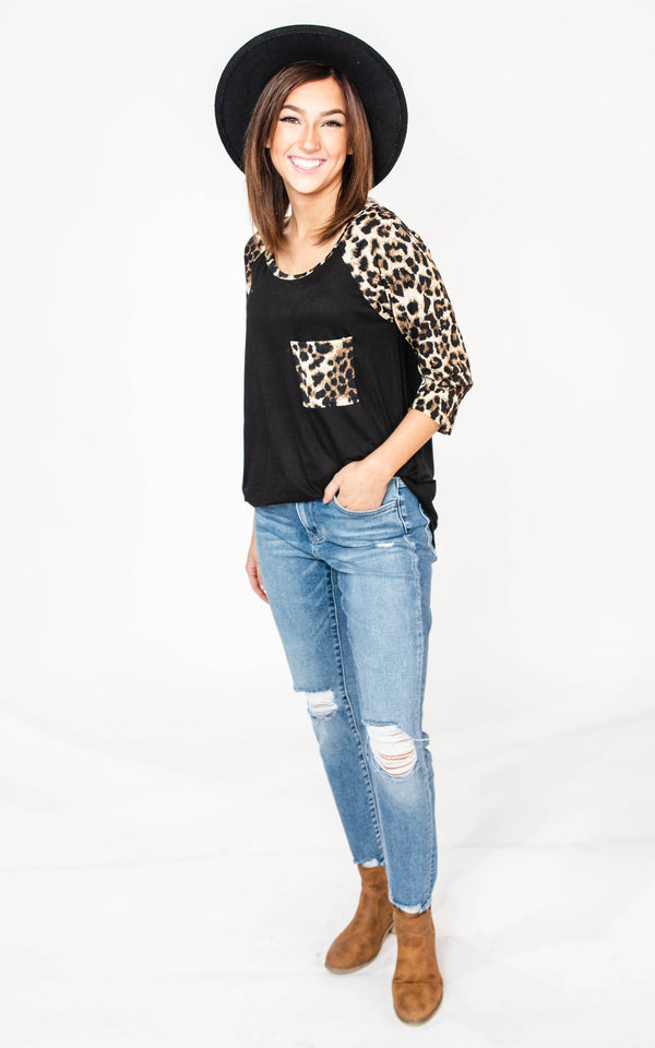 Leopard Baseball Top, CLOTHING, Heimish, BAD HABIT BOUTIQUE