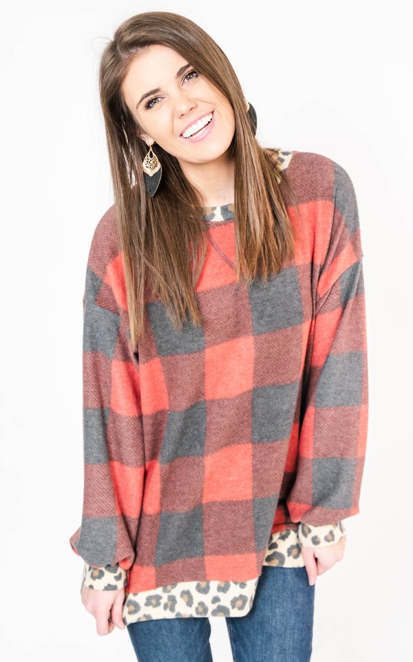 Buffalo Plaid with Leopard Trim Pullover Top, CLOTHING, White Birch, BAD HABIT BOUTIQUE