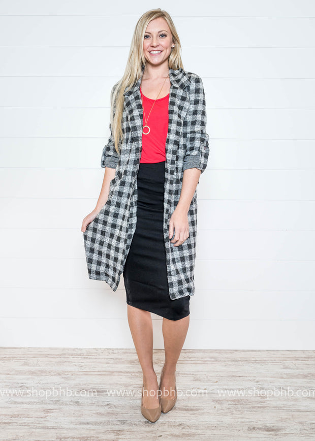 Business Prep Plaid Long Jacket, JACKET, STORY ON, badhabitboutique