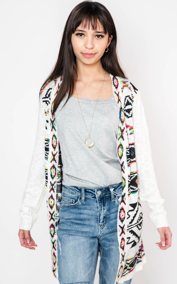 Rainbow Aztec Jacquard Knit Cardigan, CLOTHING, On Blue, BAD HABIT BOUTIQUE