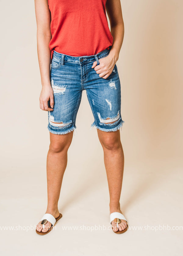 Mid Rise Distress Bermuda w/ Raw Hem - Cello | FINAL SALE, shorts, CELLO, BAD HABIT BOUTIQUE