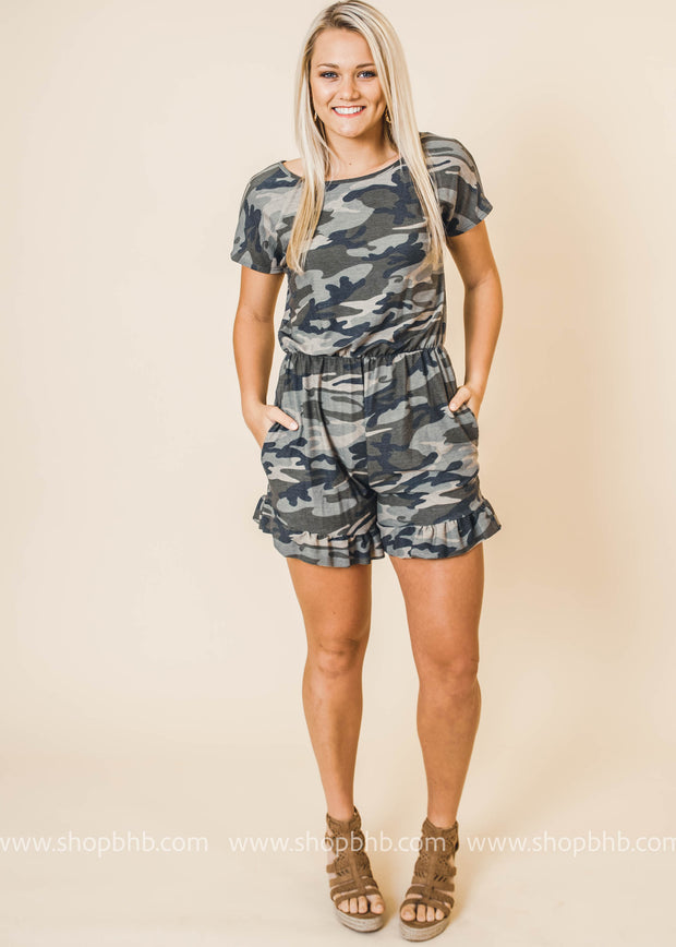 Camo Romper with Ruffle Bottom